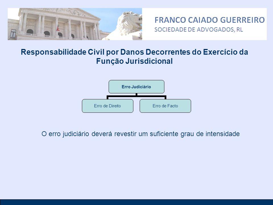 Responsabilidade Civil por Danos Decorrentes do Exercício da Função Jurisdicional Erro Judiciário Erro de Direito Erro de Facto O erro judiciário deve