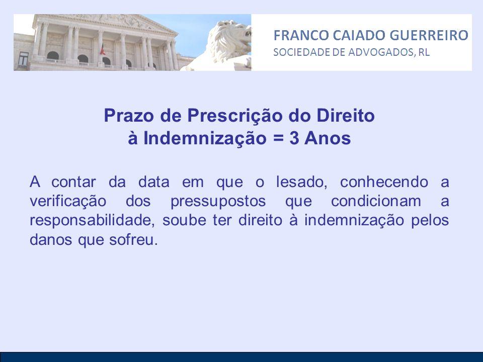 Prazo de Prescrição do Direito à Indemnização = 3 Anos A contar da data em que o lesado, conhecendo a verificação dos pressupostos que condicionam a r