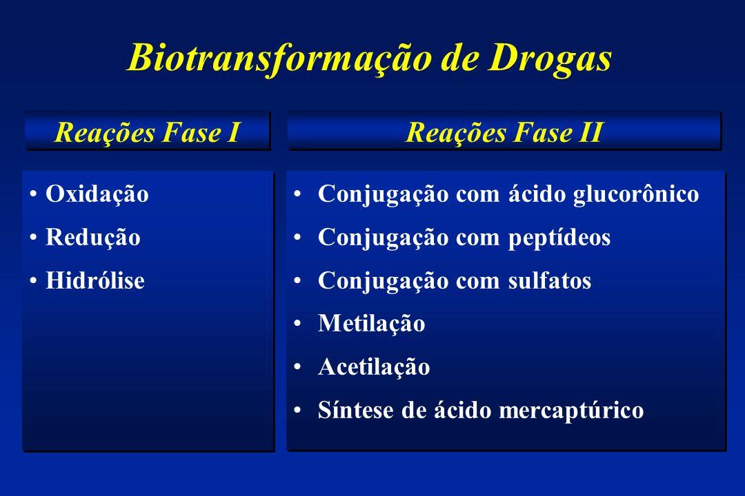 Biotransformação de Drogas Oxidação Redução Hidrólise Oxidação Redução Hidrólise Conjugação com ácido glucorônico Conjugação com peptídeos Conjugação