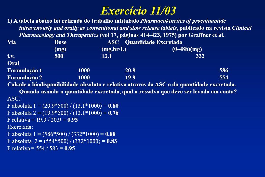 1) A tabela abaixo foi retirada do trabalho intitulado Pharmacokinetics of procainamide intravenously and orally as conventional and slow release tabl