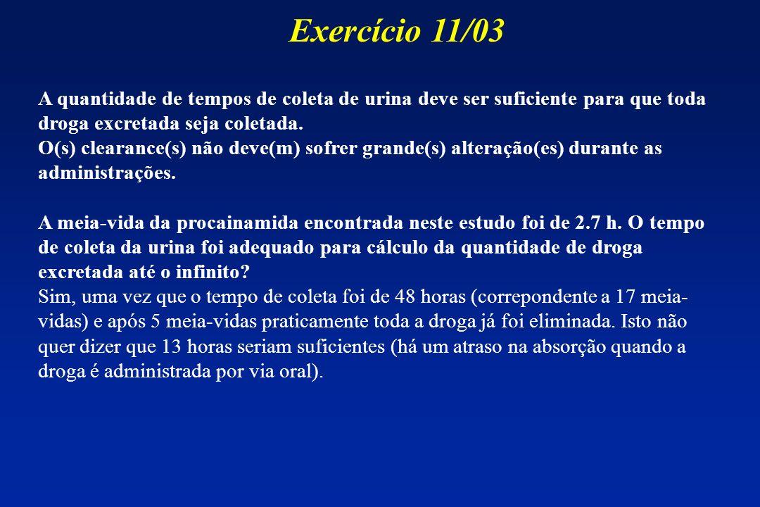 A quantidade de tempos de coleta de urina deve ser suficiente para que toda droga excretada seja coletada. O(s) clearance(s) não deve(m) sofrer grande