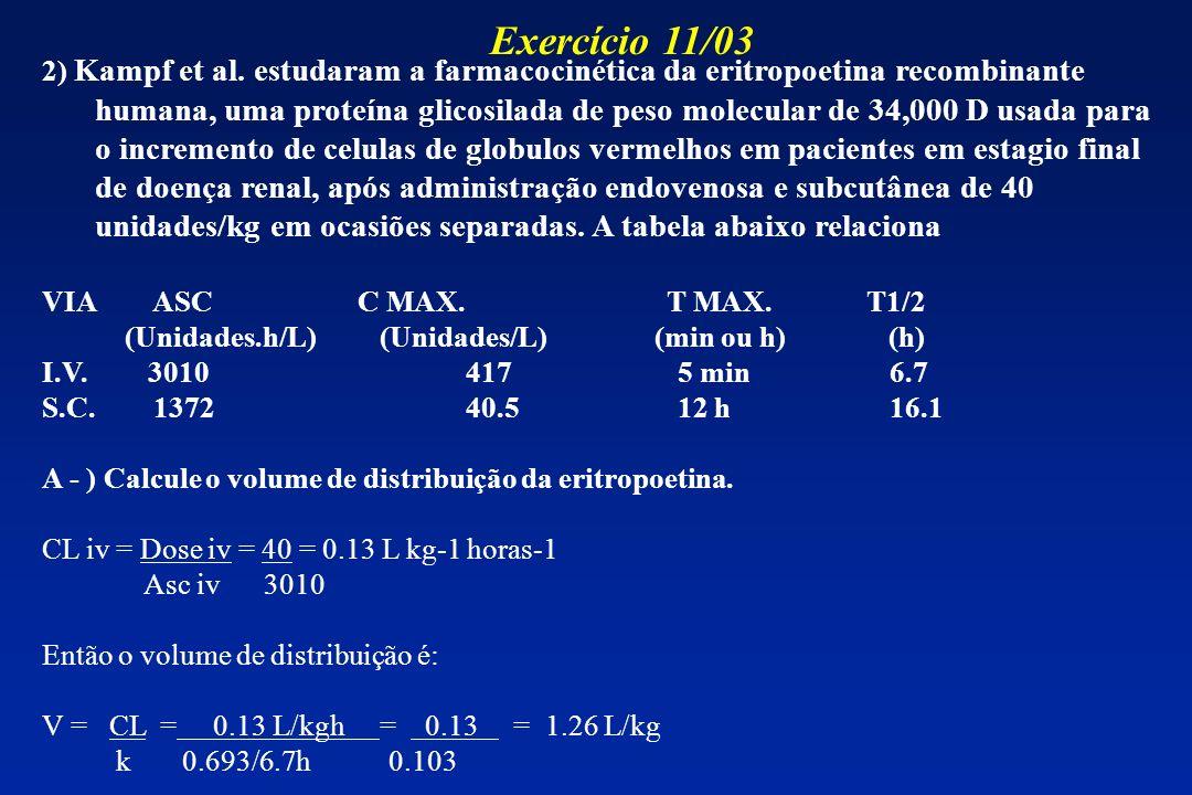 2) Kampf et al. estudaram a farmacocinética da eritropoetina recombinante humana, uma proteína glicosilada de peso molecular de 34,000 D usada para o