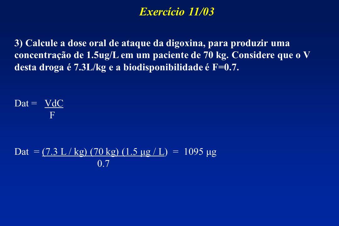 3) Calcule a dose oral de ataque da digoxina, para produzir uma concentração de 1.5ug/L em um paciente de 70 kg. Considere que o V desta droga é 7.3L/