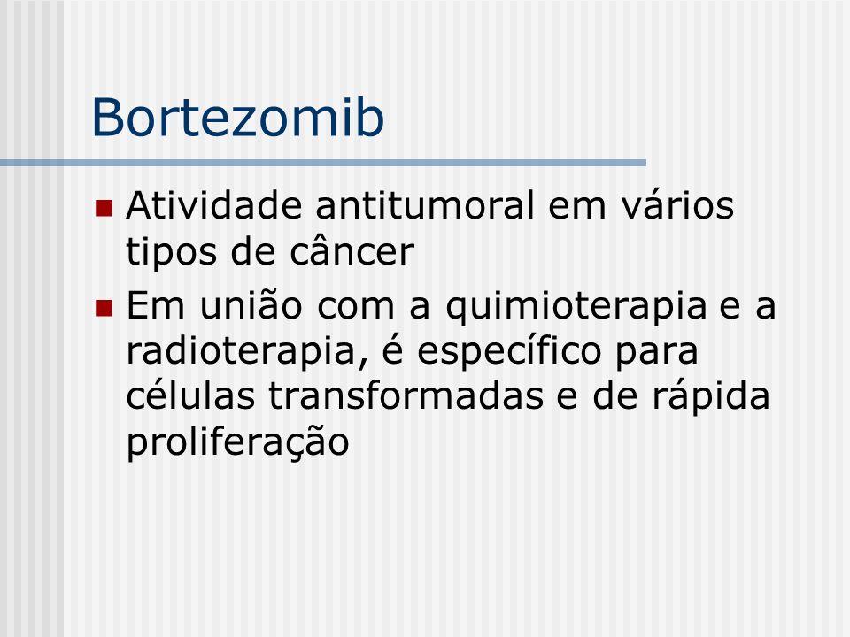 Bortezomib Atividade antitumoral em vários tipos de câncer Em união com a quimioterapia e a radioterapia, é específico para células transformadas e de