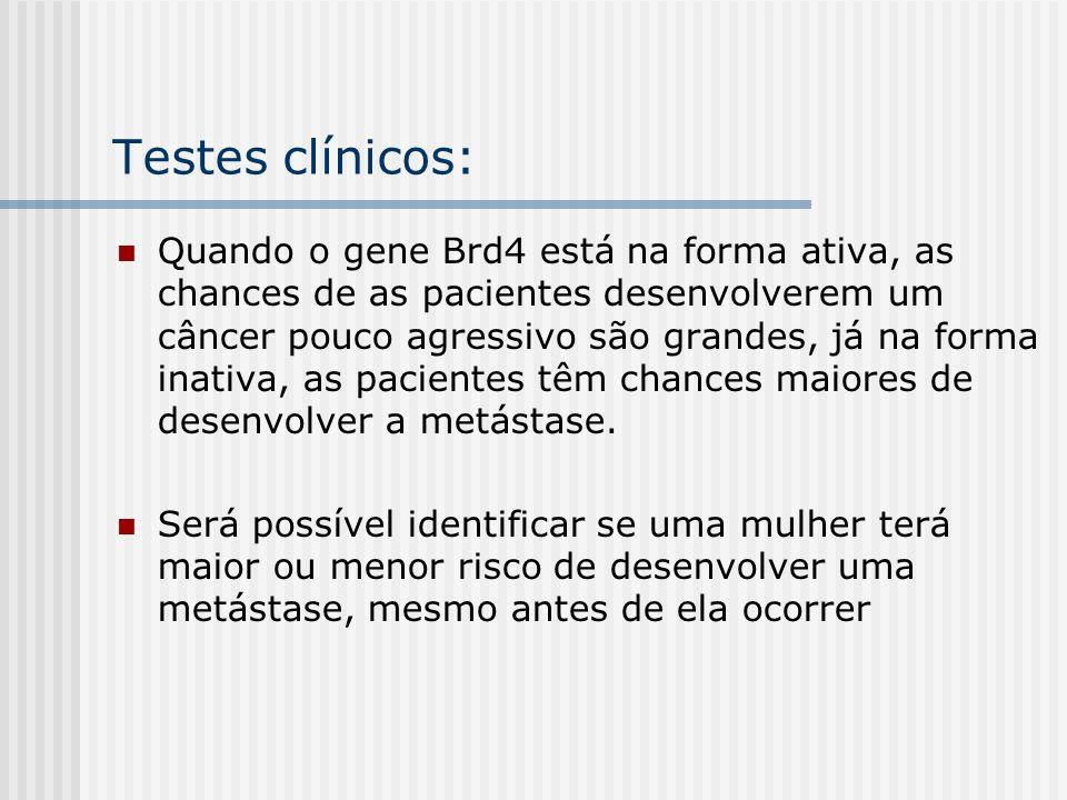 Testes clínicos: Quando o gene Brd4 está na forma ativa, as chances de as pacientes desenvolverem um câncer pouco agressivo são grandes, já na forma i