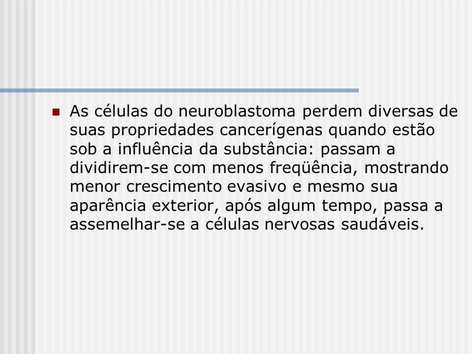 As células do neuroblastoma perdem diversas de suas propriedades cancerígenas quando estão sob a influência da substância: passam a dividirem-se com m