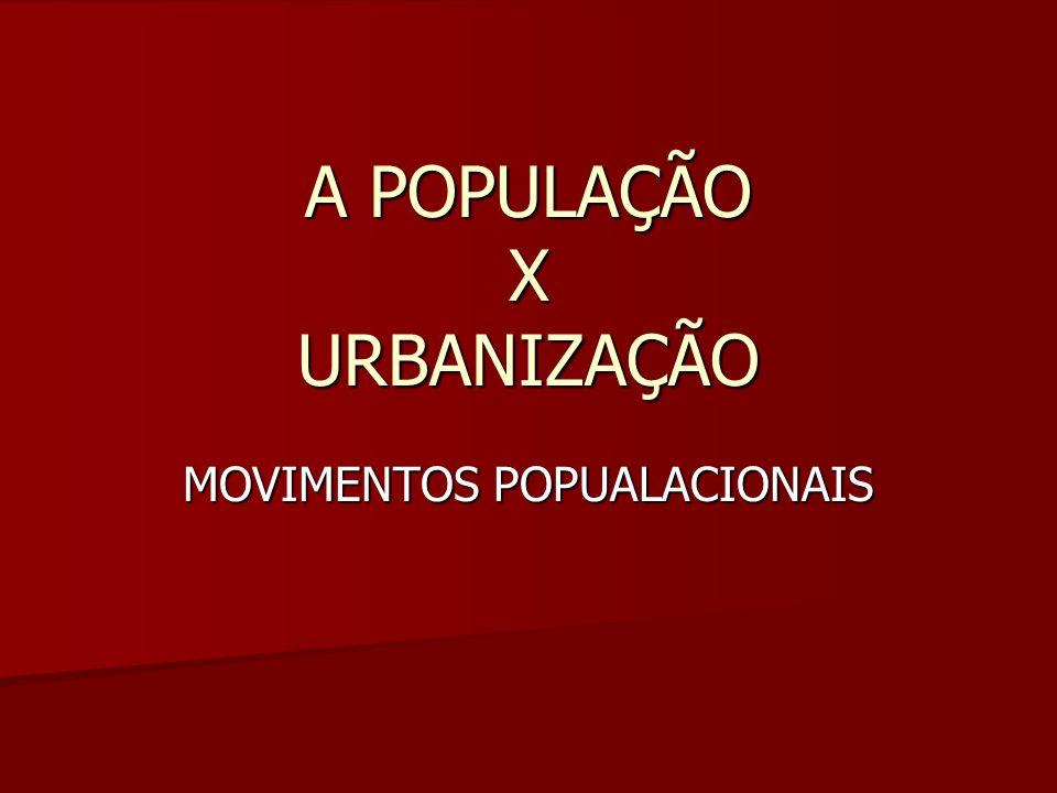A POPULAÇÃO X URBANIZAÇÃO MOVIMENTOS POPUALACIONAIS