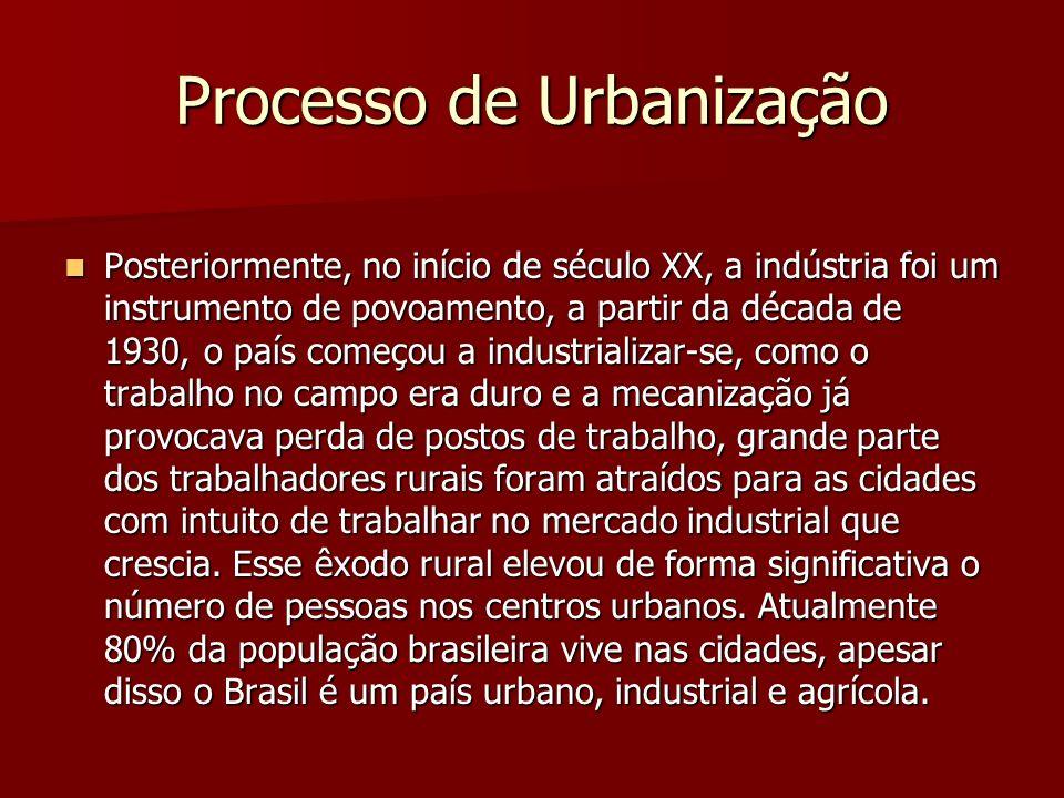 Processo de Urbanização Posteriormente, no início de século XX, a indústria foi um instrumento de povoamento, a partir da década de 1930, o país começ