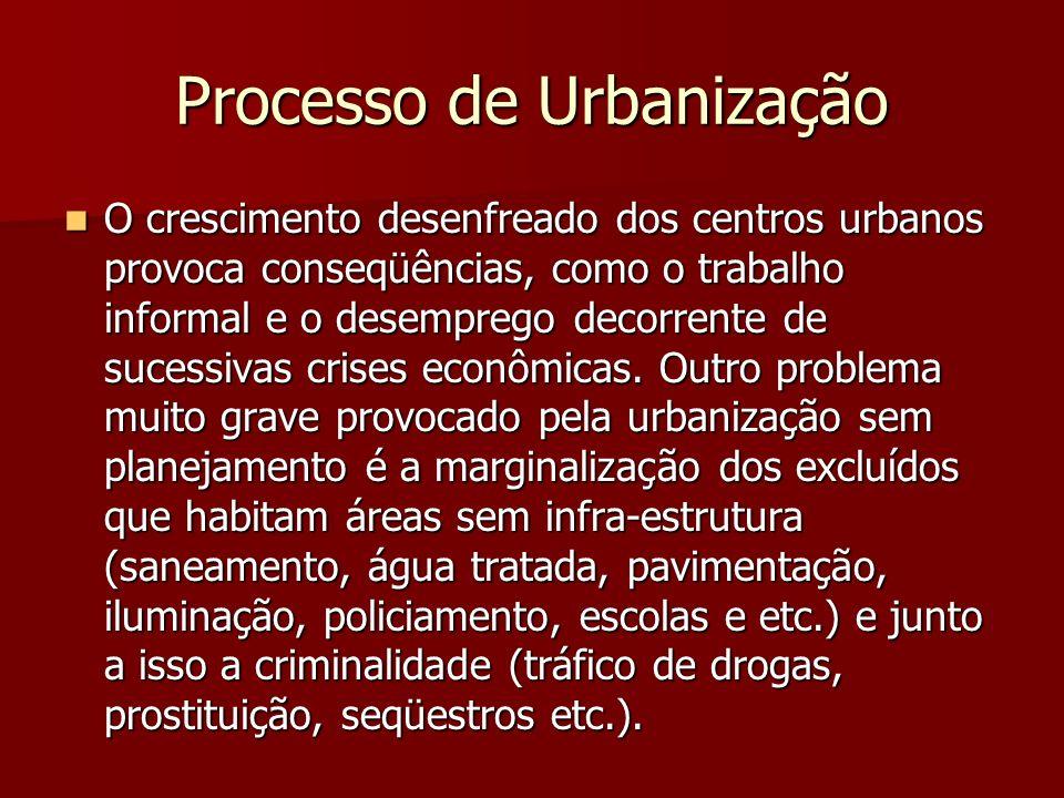 Processo de Urbanização O crescimento desenfreado dos centros urbanos provoca conseqüências, como o trabalho informal e o desemprego decorrente de suc