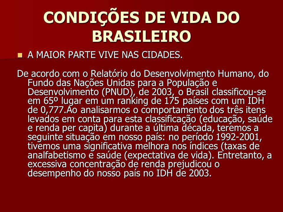 CONDIÇÕES DE VIDA DO BRASILEIRO A MAIOR PARTE VIVE NAS CIDADES. A MAIOR PARTE VIVE NAS CIDADES. De acordo com o Relatório do Desenvolvimento Humano, d