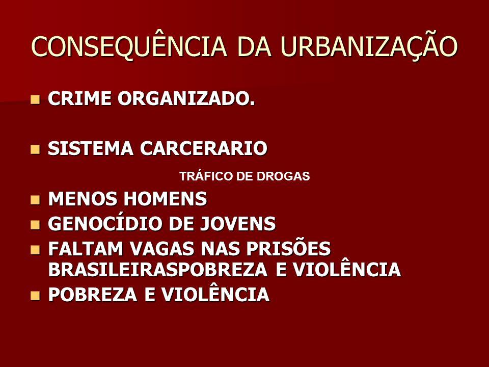 CONSEQUÊNCIA DA URBANIZAÇÃO CRIME ORGANIZADO. CRIME ORGANIZADO. SISTEMA CARCERARIO SISTEMA CARCERARIO MENOS HOMENS MENOS HOMENS GENOCÍDIO DE JOVENS GE