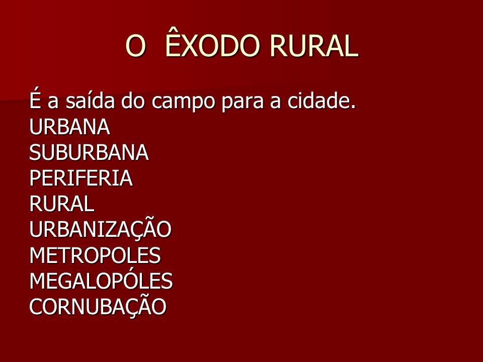 O ÊXODO RURAL É a saída do campo para a cidade. URBANASUBURBANAPERIFERIARURALURBANIZAÇÃOMETROPOLESMEGALOPÓLESCORNUBAÇÃO