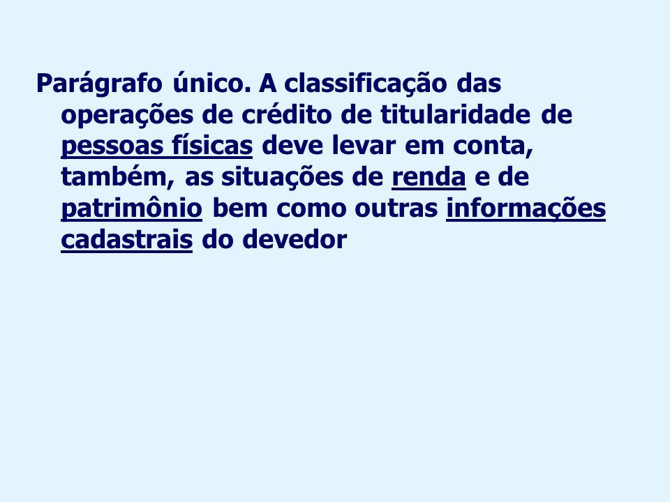 Embora no Brasil não se use a expressão qualificação ou classificação de devedores, as operações de um mesmo devedor devem ter, via de regra, a mesma classificação, como determina o art.