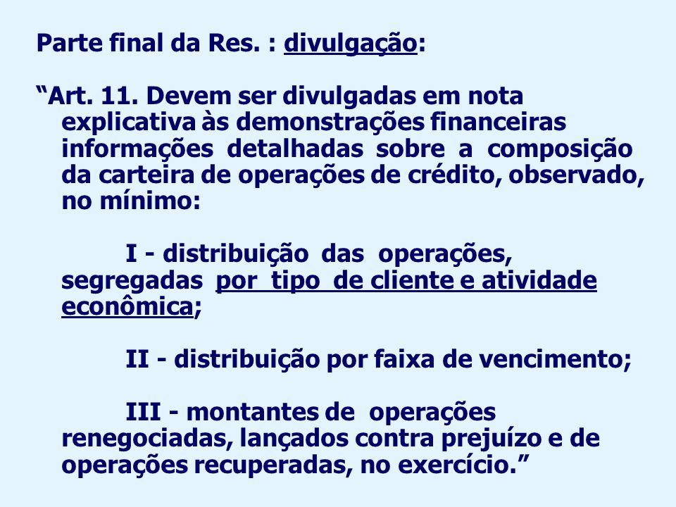 Parte final da Res. : divulgação: Art. 11. Devem ser divulgadas em nota explicativa às demonstrações financeiras informações detalhadas sobre a compos