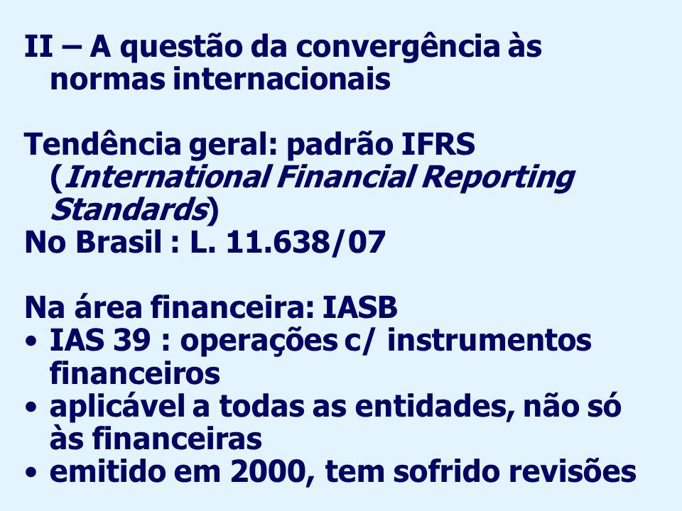 Principais divergências entre IAS 39 e normas brasileiras: Valor justo (fair value) e valor de mercado : nem sempre coincidentes www.bcb.gov.br/?IAS39ESCOPO