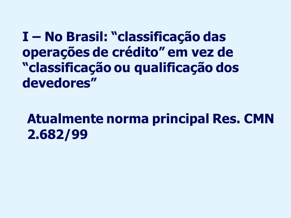 I – No Brasil: classificação das operações de crédito em vez de classificação ou qualificação dos devedores Atualmente norma principal Res. CMN 2.682/
