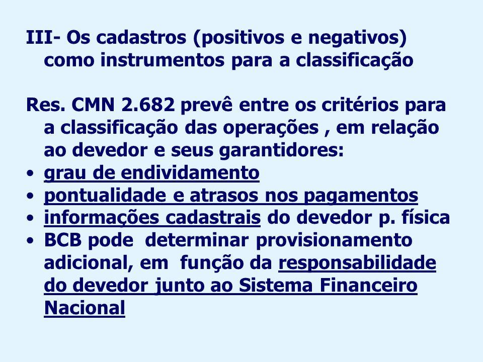 Questões referentes a cadastros no Brasil O § 2º do art.