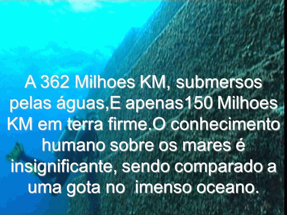 A 362 Milhoes KM, submersos pelas águas,E apenas150 Milhoes KM em terra firme.O conhecimento humano sobre os mares é insignificante, sendo comparado a