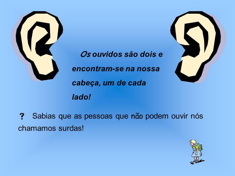 Os ouvidos são dois e encontram-se na nossa cabeça, um de cada lado! Sabias que as pessoas que não podem ouvir nós chamamos surdas!