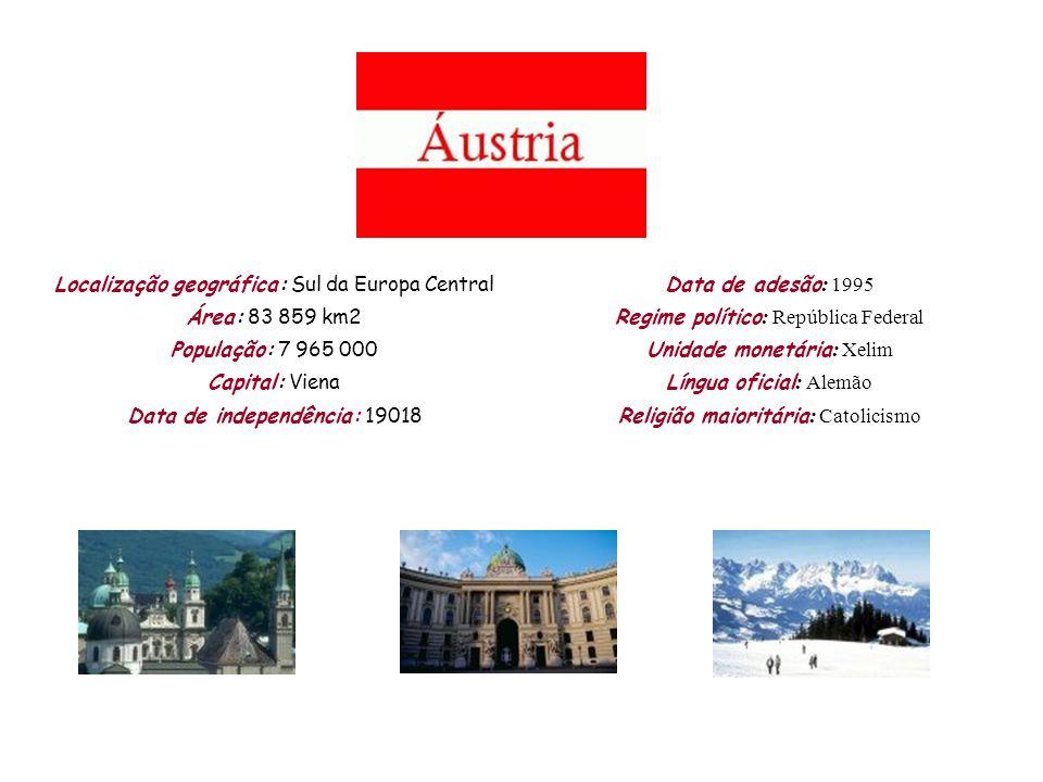 Localização geográfica: Sul da Europa Central Área: 83 859 km2 População: 7 965 000 Capital: Viena Data de independência: 19018 Data de adesão : 1995