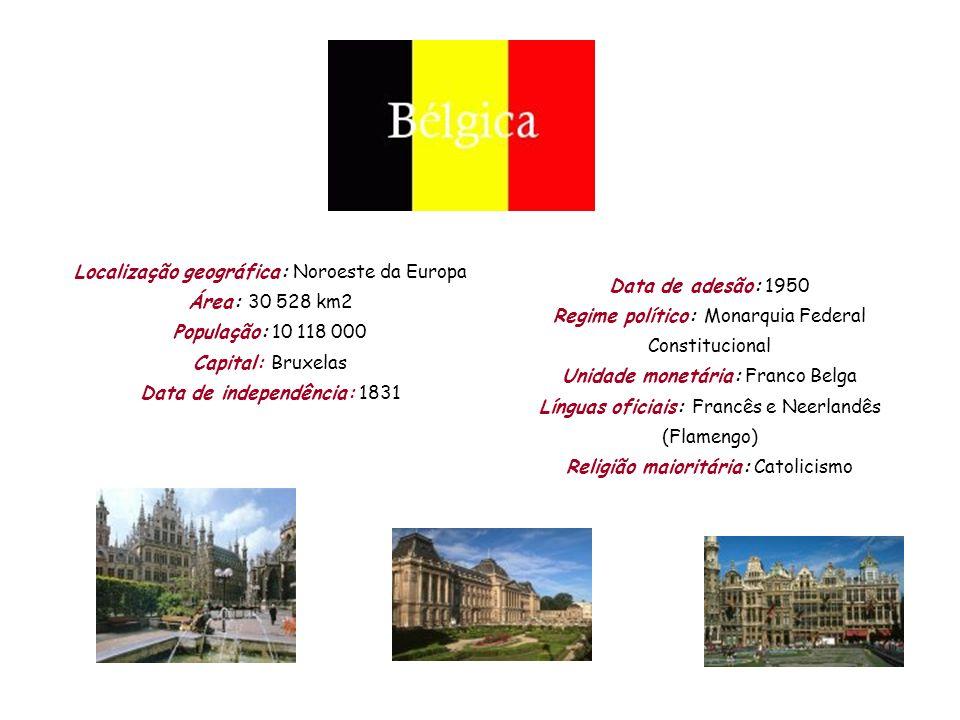 Localização geográfica: Noroeste da Europa Área: 30 528 km2 População: 10 118 000 Capital: Bruxelas Data de independência: 1831 Data de adesão: 1950 R