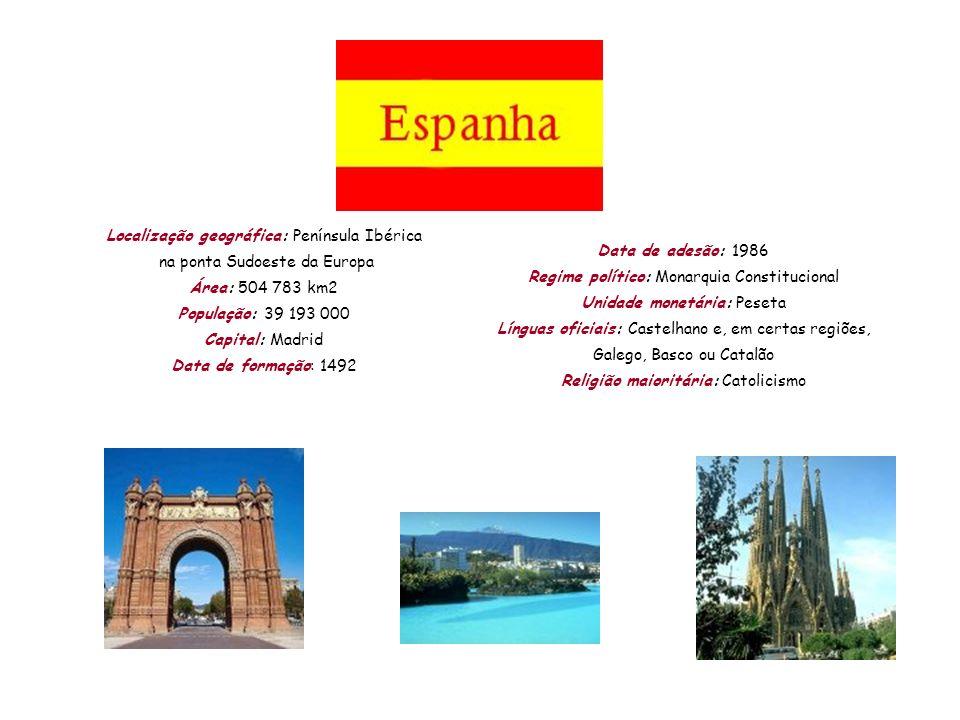 Localização geográfica: Península Ibérica na ponta Sudoeste da Europa Área: 504 783 km2 População: 39 193 000 Capital: Madrid Data de formação: 1492 D