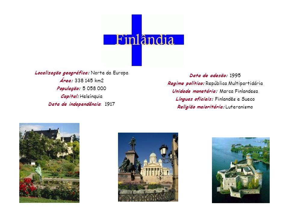 Localização geográfica: Norte da Europa Área: 338 145 km2 População: 5 058 000 Capital: Helsínquia Data de independência: 1917 Data de adesão: 1995 Re