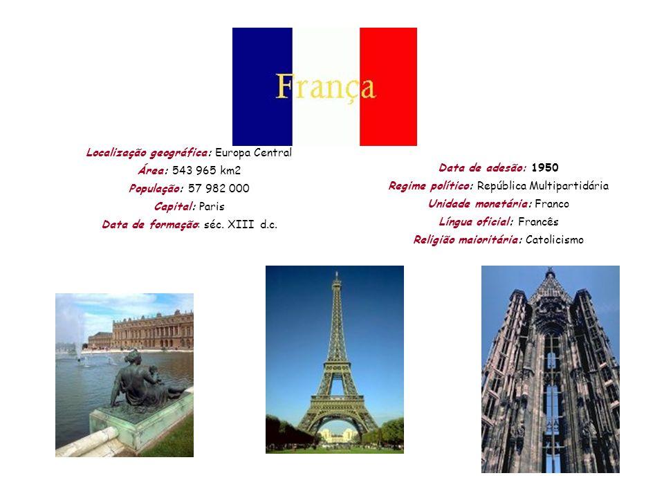 Localização geográfica: Europa Central Área: 543 965 km2 População: 57 982 000 Capital: Paris Data de formação: séc. XIII d.c. Data de adesão: 1950 Re