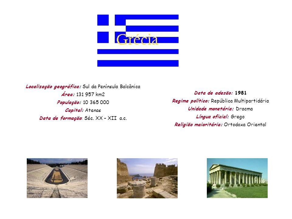 Localização geográfica: Sul da Península Balcânica Área: 131 957 km2 População: 10 365 000 Capital: Atenas Data de formação: Séc. XX – XII a.c. Data d