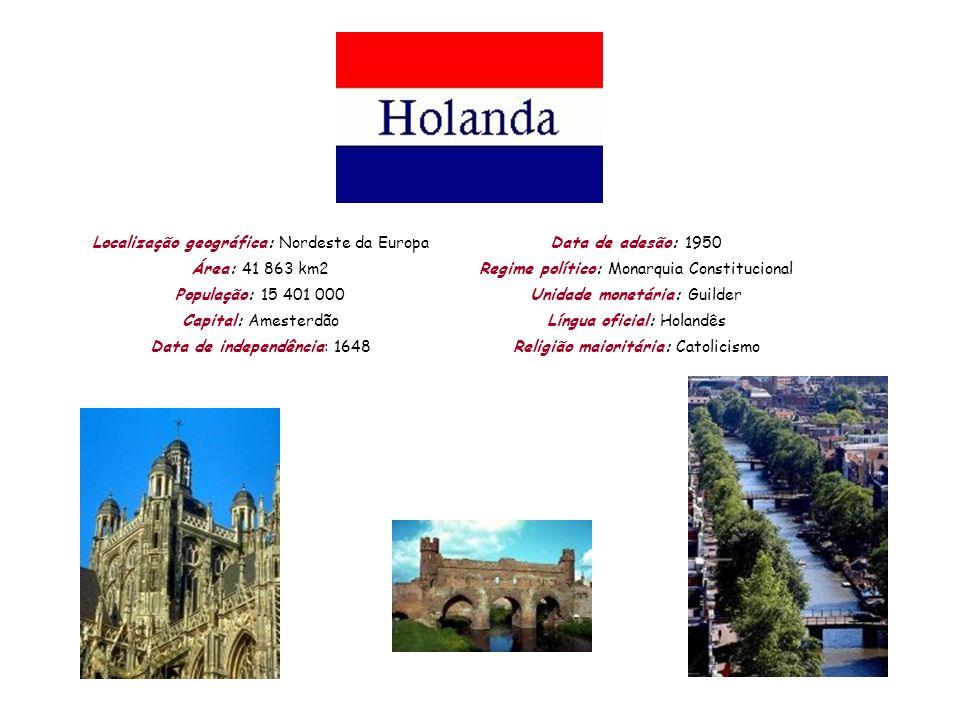 Localização geográfica: Nordeste da Europa Área: 41 863 km2 População: 15 401 000 Capital: Amesterdão Data de independência: 1648 Data de adesão: 1950