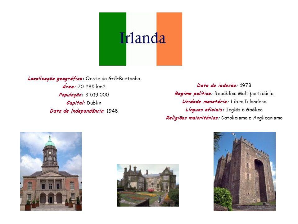 Localização geográfica: Oeste da Grã-Bretanha Área: 70 285 km2 População: 3 519 000 Capital: Dublin Data de independência: 1948 Data de iadesão: 1973