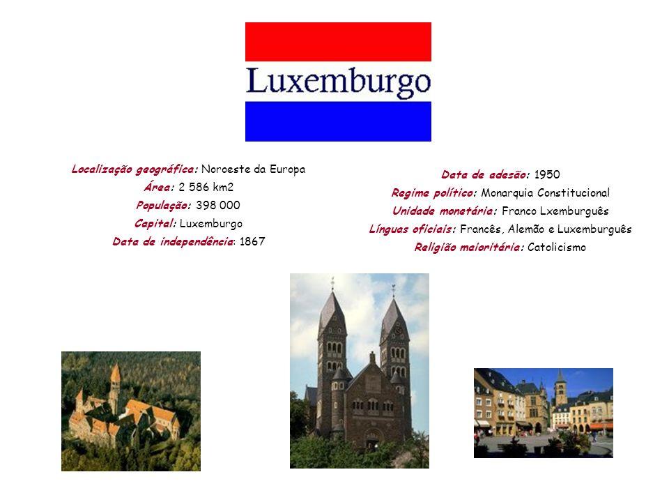 Localização geográfica: Noroeste da Europa Área: 2 586 km2 População: 398 000 Capital: Luxemburgo Data de independência: 1867 Data de adesão: 1950 Reg