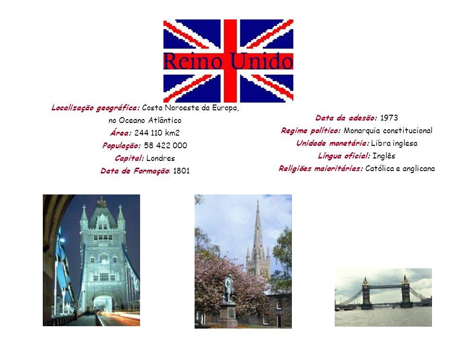 Localização geográfica: Costa Noroeste da Europa, no Oceano Atlântico Área: 244 110 km2 População: 58 422 000 Capital: Londres Data de Formação: 1801