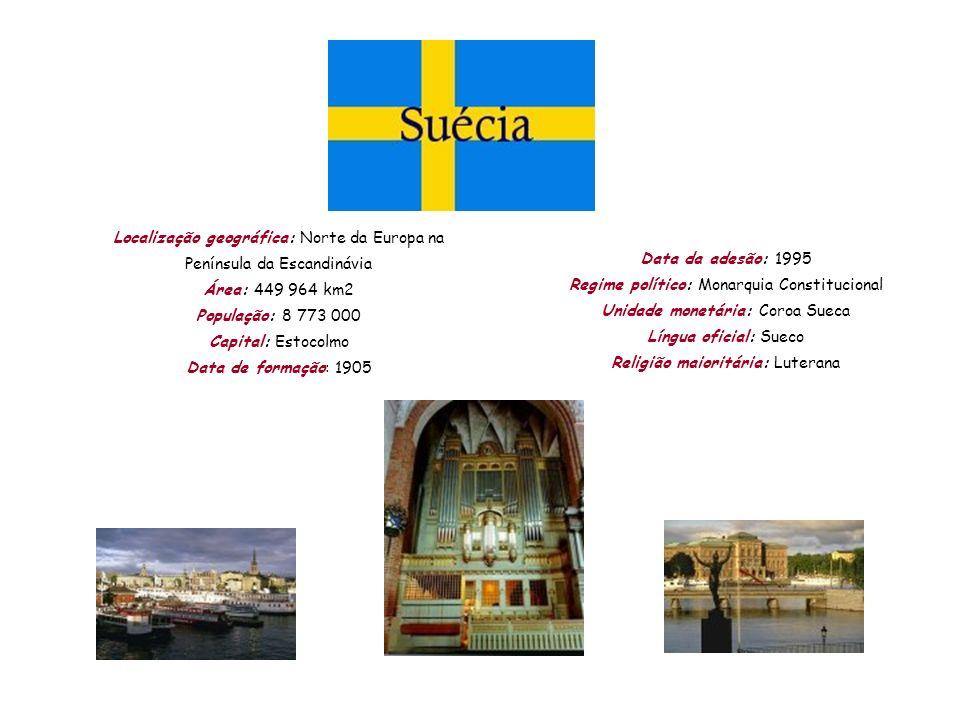 Localização geográfica: Norte da Europa na Península da Escandinávia Área: 449 964 km2 População: 8 773 000 Capital: Estocolmo Data de formação: 1905