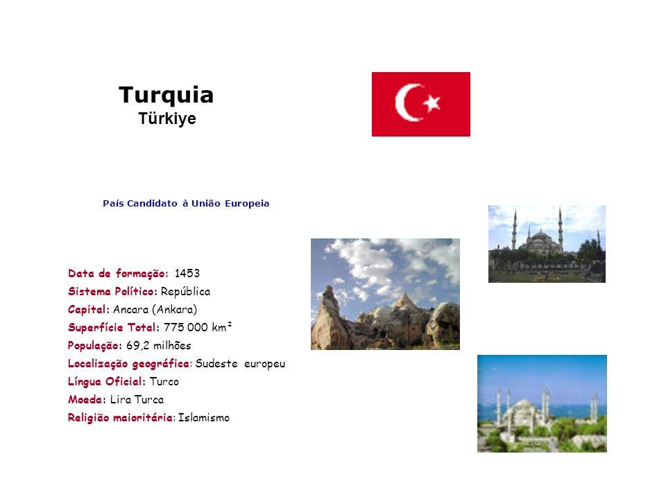 Turquia Türkiye País Candidato à União Europeia Data de formação: 1453 Sistema Político: República Capital: Ancara (Ankara) Superfície Total: 775 000