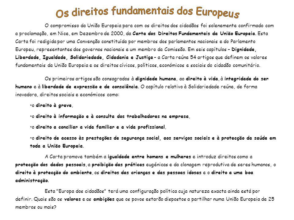 A UE dispõe de cinco instituições, cada uma com funções específicas: Parlamento Europeu (eleito pela população dos Estados Membros); Conselho da União Europeia (representação dos Estados Membros); Comissão Europeia (força motriz e órgão executivo); Tribunal de Justiça (garante a observância da legislação); Tribunal de Contas (controlo rigoroso e gestão do orçamento da UE).