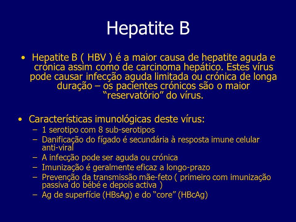 Hepatite B Hepatite B ( HBV ) é a maior causa de hepatite aguda e crónica assim como de carcinoma hepático. Estes vírus pode causar infecção aguda lim