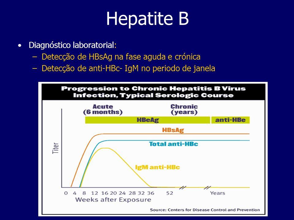 Hepatite B Diagnóstico laboratorial: –Detecção de HBsAg na fase aguda e crónica –Detecção de anti-HBc- IgM no periodo de janela