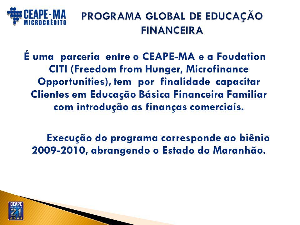 É uma parceria entre o CEAPE-MA e a Foudation CITI (Freedom from Hunger, Microfinance Opportunities), tem por finalidade capacitar Clientes em Educaçã