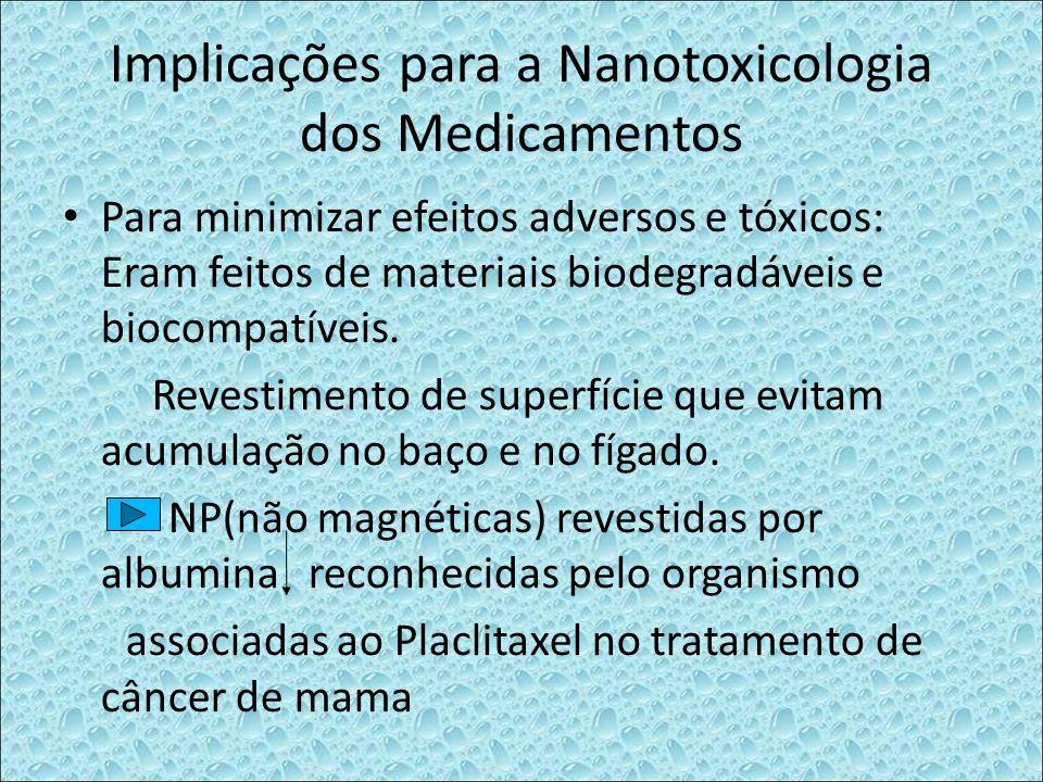 Implicações para a Nanotoxicologia dos Medicamentos Para minimizar efeitos adversos e tóxicos: Eram feitos de materiais biodegradáveis e biocompatívei