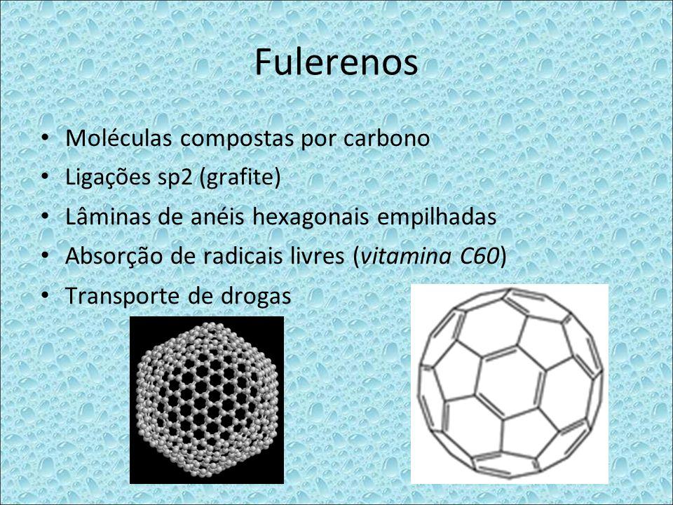 Fulerenos Moléculas compostas por carbono Ligações sp2 (grafite) Lâminas de anéis hexagonais empilhadas Absorção de radicais livres (vitamina C60) Tra