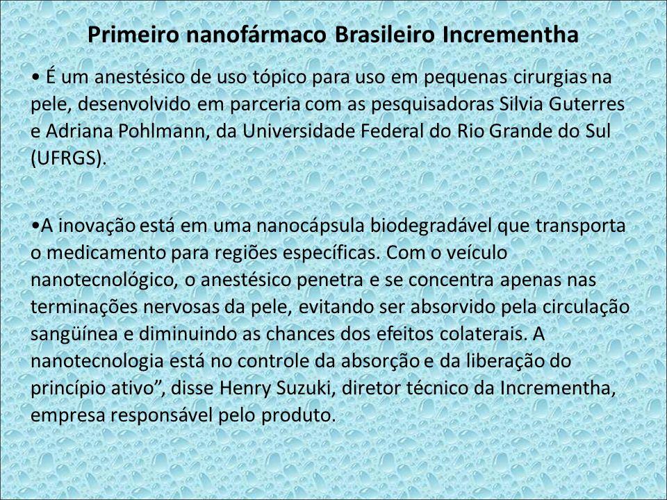 Primeiro nanofármaco Brasileiro Incrementha É um anestésico de uso tópico para uso em pequenas cirurgias na pele, desenvolvido em parceria com as pesq
