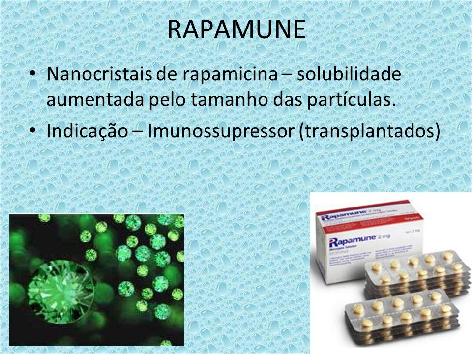 RAPAMUNE Nanocristais de rapamicina – solubilidade aumentada pelo tamanho das partículas. Indicação – Imunossupressor (transplantados)