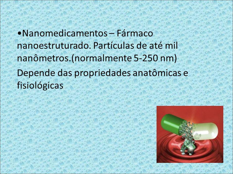 Nanomedicamentos – Fármaco nanoestruturado. Partículas de até mil nanômetros.(normalmente 5-250 nm) Depende das propriedades anatômicas e fisiológicas