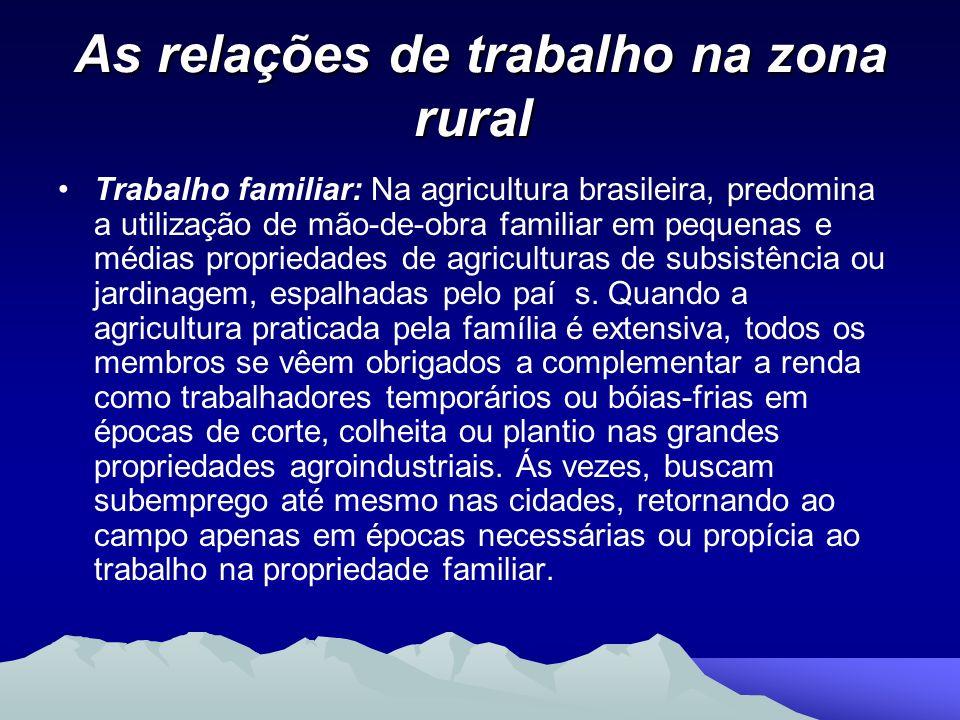 As relações de trabalho na zona rural As relações de trabalho na zona rural Trabalho familiar: Na agricultura brasileira, predomina a utilização de mã