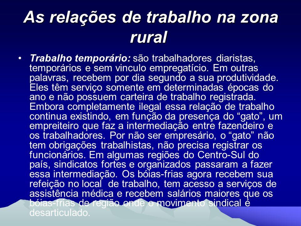 As relações de trabalho na zona rural As relações de trabalho na zona rural Trabalho temporário: são trabalhadores diaristas, temporários e sem vincul