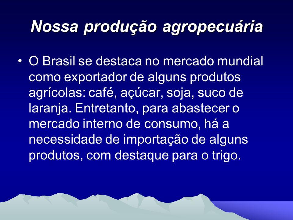 Nossa produção agropecuária O Brasil se destaca no mercado mundial como exportador de alguns produtos agrícolas: café, açúcar, soja, suco de laranja.