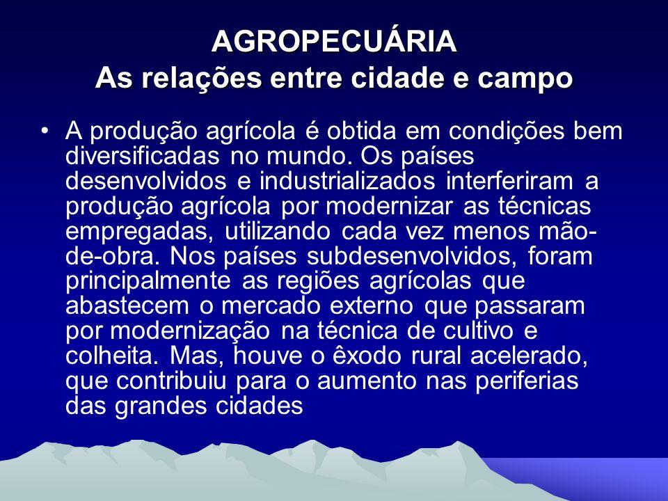 AGROPECUÁRIA As relações entre cidade e campo A produção agrícola é obtida em condições bem diversificadas no mundo. Os países desenvolvidos e industr