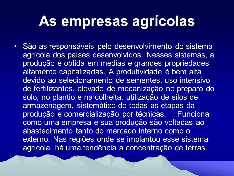 As empresas agrícolas São as responsáveis pelo desenvolvimento do sistema agrícola dos países desenvolvidos. Nesses sistemas, a produção é obtida em m