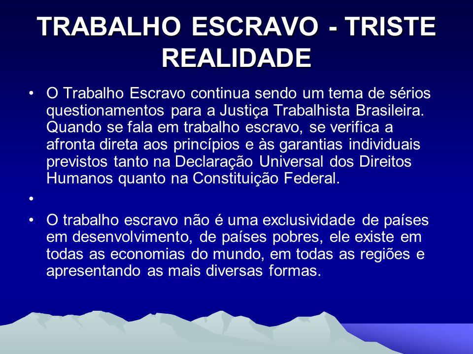 TRABALHO ESCRAVO - TRISTE REALIDADE O Trabalho Escravo continua sendo um tema de sérios questionamentos para a Justiça Trabalhista Brasileira. Quando